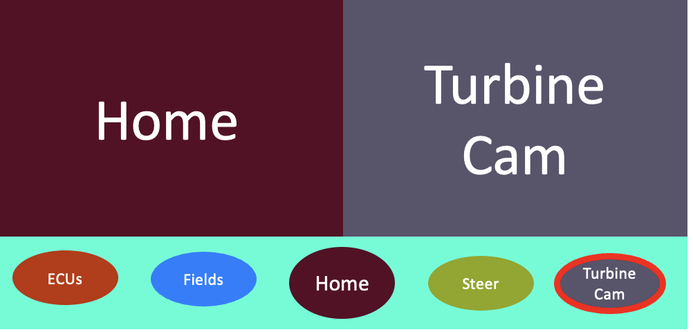 Window manager showing split view of home (left) and of turbine cam (right).